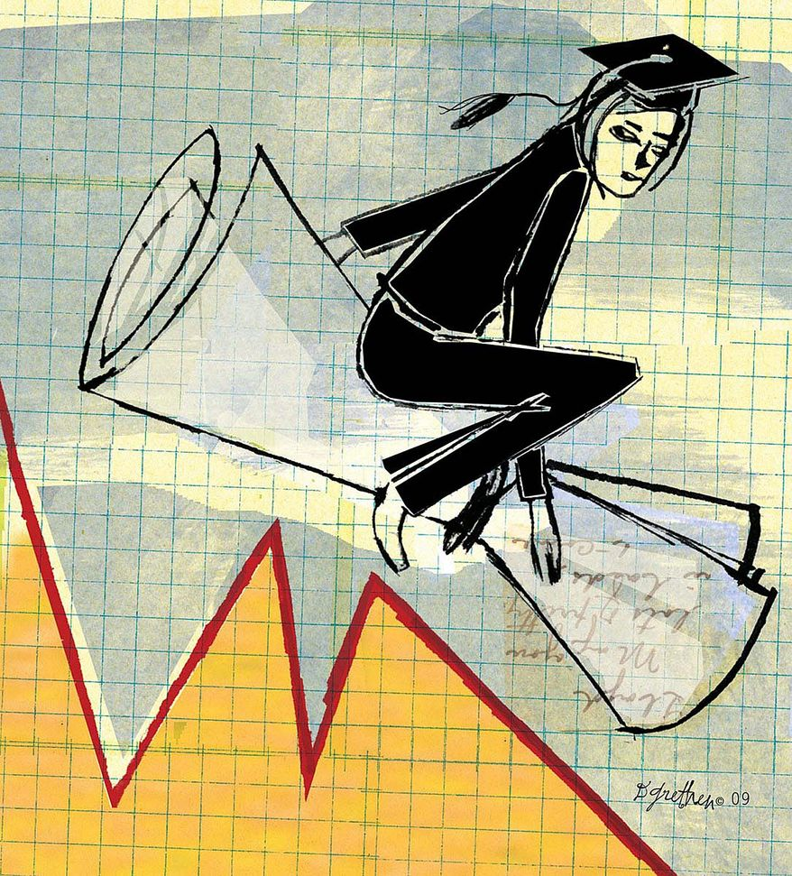 Illustration on college graduates and the poor economy by Donna Grethen/Tribune Content Agency