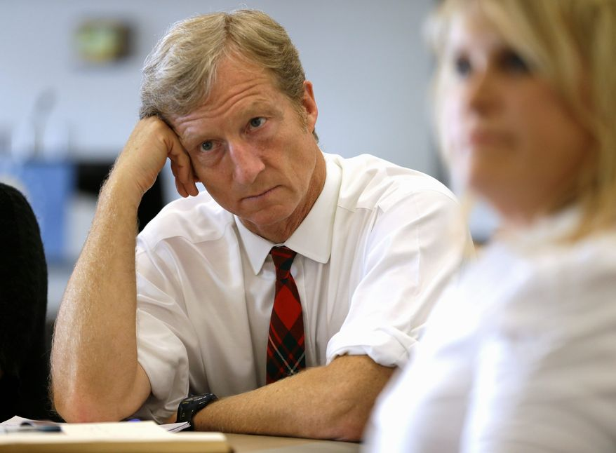 Businessman Tom Steyer, a former hedge-fund manager turned climate-change hard-liner whose fortune stems in part from investments in the fossil-fuel industry, has pledged to donate $50 million and raise $50 million on behalf of four Democratic Senate and three gubernatorial candidates. (Associated Press)