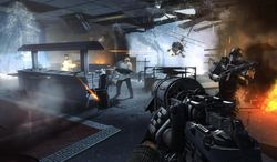 """This video game image released by Bethesda Softworks shows resistance fighters battling German troops in Nazi-occupied London in a scene from """"Wolfenstein: The New Order."""" (AP Photo/Bethesda Softworks)"""