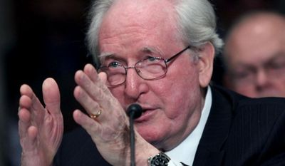 ** FILE ** Sen. Jay Rockefeller, D-W.Va., testifies on Capitol Hill in Washington, Tuesday, Feb. 4, 2014. (AP Photo/Lauren Victoria Burke)
