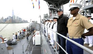 "This photo released by TNT shows actor Adam Baldwin, second right, from the new TNT series ""The Last Ship,"" standing on deck with U.S. Marine and Navy personnel from the USS Oak Hill as it arrives in New York for Fleet Week on Wednesday, May 21, 2014. On Tuesday, Baldwin hosted a special screening aboard the dock landing ship. The series, also starring Eric Dane and Rhona Mitra, premieres on Sunday, June 22, at 9 p.m. ET (AP Photo/TNT, E. M. Pio Roda)"