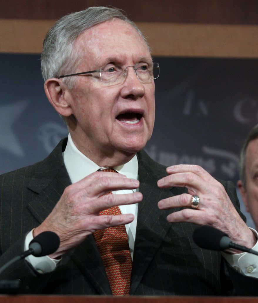 Senate Majority Leader Harry Reid of Nev. speaks during a news conference on Capitol Hill in Washington, Thursday, May 22, 2014, to discuss immigration reform. (AP Photo/Lauren Victoria Burke)