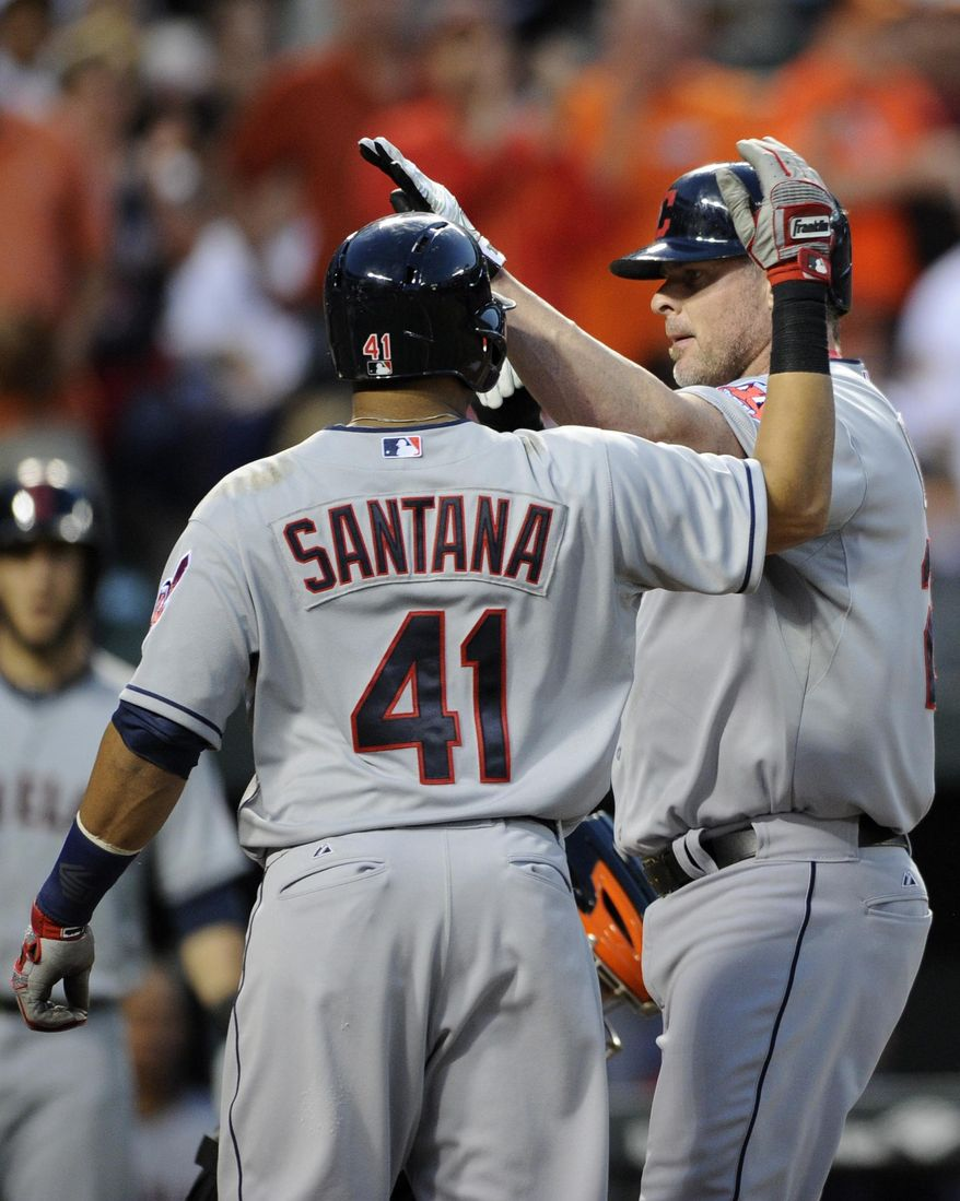 Cleveland Indians designated hitter Jason Giambi, right, celebrates his three-run home run with Carlos Santana (41) during the fourth inning of a baseball game against the Baltimore Orioles, Friday, May 23, 2014, in Baltimore. (AP Photo/Nick Wass)