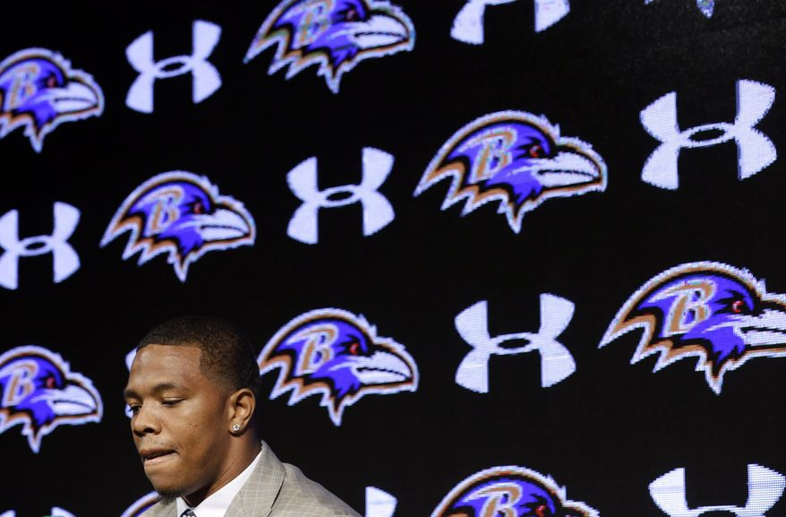 Baltimore Ravens running back Ray Rice pauses as he speaks during an NFL football news conference, Friday, May 23, 2014, at the team's practice facility in Owings Mills, Md. Rice and his wife Janay spoke to the media for the first time since his arrest for assaulting his then-fiance at a casino in Atlantic City, N.J.  (AP Photo/Patrick Semansky)