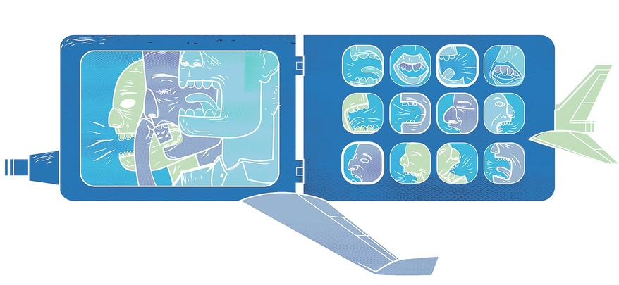 Illustration on in-flight cellphone use by Linas Garsys/The Washington Times