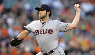 Cleveland Indians starting pitcher T.J. House delivers a pitch during the third inning of a baseball game against the Baltimore Orioles, Friday, May 23, 2014, in Baltimore. (AP Photo/Nick Wass)