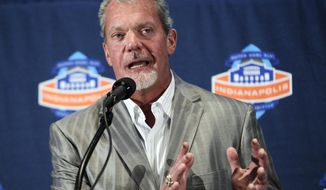 FILE - In this July 18, 2012, file photo, Indianapolis Colts owner Jim Irsay talks about the plans for the City of Indianapolis to bid for the 2018 NFL Super Bowl during an announcement in Indianapolis. Irsay has been formally charged with two misdemeanor counts stemming from his arrest in March. Hamilton County (Indiana) prosecutors said Friday, May 23, 2014, that Irsay had been charged with operating a vehicle while intoxicated and operating a vehicle with a schedule I or II controlled substance or its metabolite in the body. (AP Photo/Michael Conroy, File)