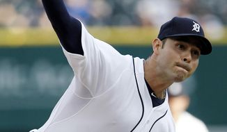 Detroit Tigers pitcher Anibal Sanchez delivers against the Texas Rangers in the first inning of a baseball game Friday, May 23, 2014, in Detroit. (AP Photo/Duane Burleson)