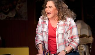 "This image taken in May 2014 and made available by Jo Allan PR shows actors Kathleen Turner performing a scene from ""Bakersfield Mist"" in a London theatre. The 59-year-old actress, whose career stretches from 1980s movie hits to Tony-nominated stage roles, does not like being pigeonholed. Cast early on as a sex symbol, even in animated form, she's long refused to be stuck with the limited parts Hollywood provides for women over 40. But she knows it's a strategy that brings risks. (AP Photo/Simon Annand, Jo Allan PR)"
