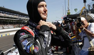 Kurt Busch prepares to drive on the final day of practice for the Indianapolis 500 IndyCar auto race at the Indianapolis Motor Speedway in Indianapolis, Friday, May 23, 2014. The 98th running of the Indianapolis 500 is Sunday. (AP Photo/Tom Strattman)