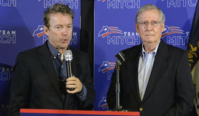 Kentucky Senators Rand Paul, left, and Mitch McConnell address the media during a news conference following Mr. McConnell's victory in the republican primary on May 23 in Louisville, Ky. Columnist Christine O'Donnell says all Republicans must work together as both Tea Partyers and establishment Republicans need an attitude adjustment. (Associated Press)