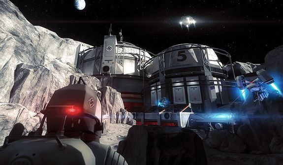 The Third Reich lands on the moon in the first person shooter Wolfenstein: The New Order.