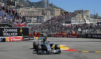 Mercedes driver Nico Rosberg of Germany steers his car during the third free practice at the Monaco racetrack, in Monaco, Saturday, May 24, 2014. The Monaco Formula One Grand Prix will be held on Sunday. (AP Photo/Claude Paris)