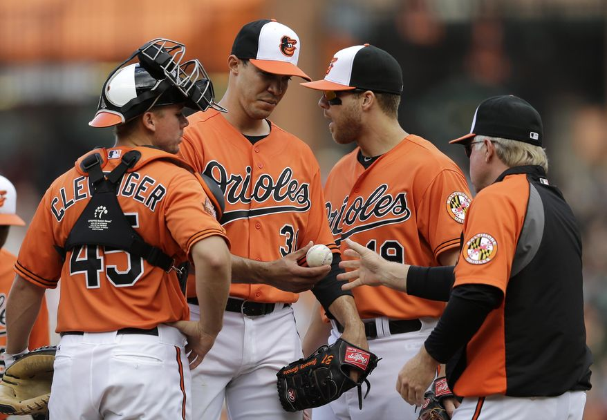Baltimore Orioles starting pitcher Ubaldo Jimenez, second from left, is relieved by manager Buck Showalter in the fifth inning of a baseball game against the Cleveland Indians, Saturday, May 24, 2014, in Baltimore, as catcher Steve Clevenger (45) and first baseman Chris Davis look on. (AP Photo/Patrick Semansky)