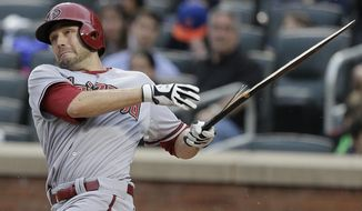 Arizona Diamondbacks' A.J. Pollock breaks his bat as he pops out to third during the second inning of a baseball game against the New York Mets, Saturday, May 24, 2014, in New York. (AP Photo/Julie Jacobson)