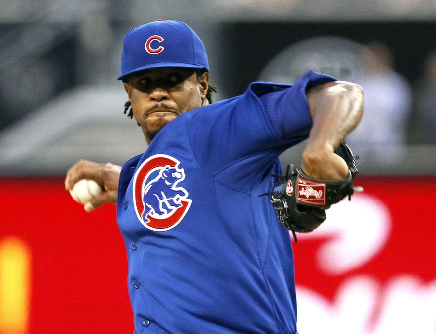 Chicago Cubs starting pitcher Edwin Jackson pitches in the first inning of a baseball game against the San Diego Padres, Friday, May 23, 2014, in San Diego. (AP Photo/Don Boomer)