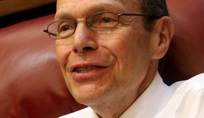 This July 22, 2008, photo shows Judge Bernard Friedman in his office during an interview with the Detroit Free Press at the U.S. courthouse in Detroit. In March 2014 Friedman struck down the gay-marriage ban approved by Michigan voters in 2004. (AP Photo/Detroit Free Press, Susan Tusa)