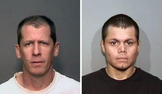 This combination of undated photos from the Megan's Law website shows suspects, Steven Dean Gordon, 45, left, and Franc Cano, 27, who were arrested on Friday, April 11, 2014, on suspicion of killing four women in Orange County, Calif. The two sex offenders charged with raping and killing four California women while wearing GPS monitors had escaped parole supervision and left the state together more than once in the four years before their most recent arrest, The Associated Press learned Friday May 23, 2014. (AP Photo/Megan's Law, File)