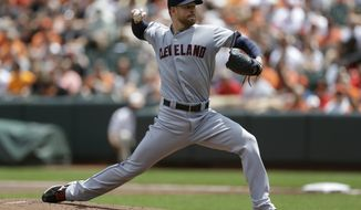 Cleveland Indians starting pitcher Corey Kluber throws to the Baltimore Orioles in the first inning of a baseball game, Saturday, May 24, 2014, in Baltimore. (AP Photo/Patrick Semansky)