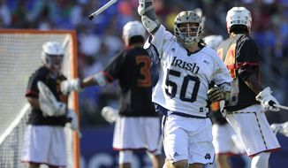 Notre Dame's Matt Kavanagh reacts after scoring against Maryland in the second half of an NCAA semi-final lacrosse game Saturday, May 24, 2014, in Baltimore. Notre Dame won 11-6.(AP Photo/Gail Burton)