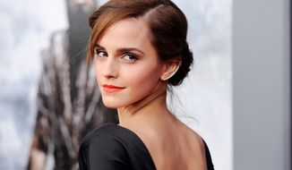 "FILE - This March 26, 2014 file photo shows actress Emma Watson at the premiere of ""Noah,"" in New York. Watson, most known for her role as Hermione Granger in the ""Harry Potter"" franchise, is graduating from Brown University, an Ivy League school in Providence, R.I., on May 25. (Photo by Evan Agostini/Invision/AP, FIle)"