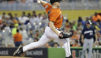 Miami Marlins starting pitcher Randy Wolf throws in the first inning during a baseball game against the Milwaukee Brewers, Sunday, May 25, 2014, in Miami. (AP Photo/Lynne Sladky)