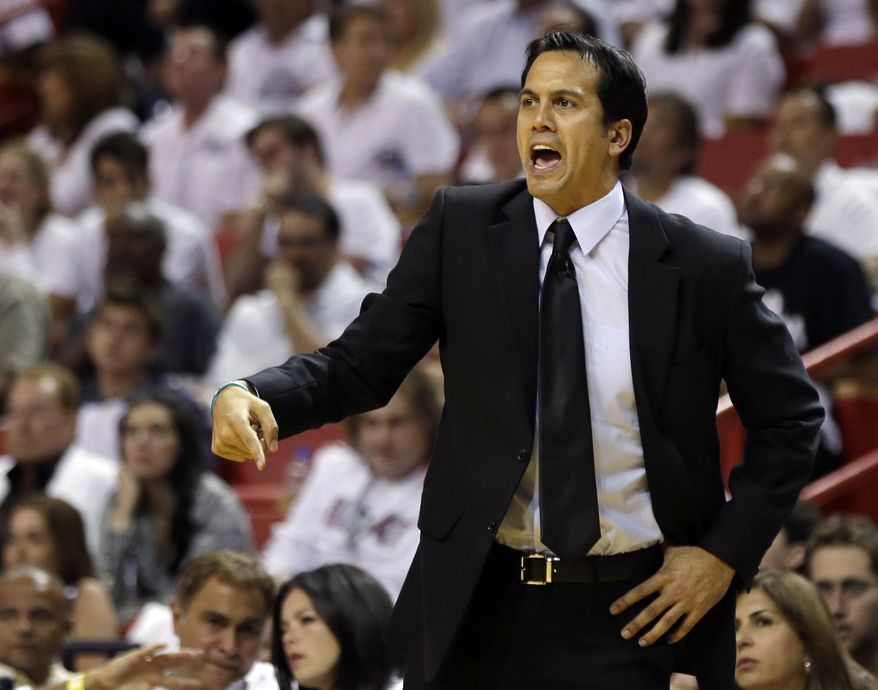 Miami Heat coach Erik Spoelstra gestures during the second half of Game 3 in the NBA basketball Eastern Conference finals playoff series against the Indiana Pacers, Saturday, May 24, 2014, in Miami. (AP Photo/Lynne Sladky)