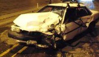 This undated photo provided by the Oregon State Police shows a 1990 Toyota Camry after it was involved in a crash in the Highway 26 tunnel west near the community of Manning, Ore. Oregon State Police said a 19-year-old man caused the three-car crash when he fainted while holding his breath as he drove through the tunnel. (AP Photo/Oregon State Police)