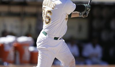 Oakland Athletics' Derek Norris follows through on his swing after hitting a grand slam off Detroit Tigers' Phil Coke in the eighth inning of a baseball game Monday, May 26, 2014, in Oakland, Calif. (AP Photo/Ben Margot)