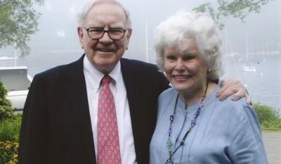 This June 25, 2009 courtesy photo provided by the Sunshine Lady Foundation shows Doris Buffett, right, with her brother, billionaire Warren Buffett. After Warren Buffett received scores of individual requests for help when he announced that he would gradually give away his fortune, he turned to his big sister Doris Buffett and her Sunshine Lady Foundation to review the requests and to find people struggling through no fault of their own. (AP Photo/The Sunshine Lady Foundation)