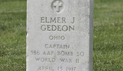 Capt. Elmer Gedeon, who played 5 games for the Washington Senators in 1939, was one of two players with Major League Baseball experience killed in World War II. His plane was shot down April 20, 1944 over France. He is buried in Arlington National Cemetery. (Marc Lancaster/The Washington Times)
