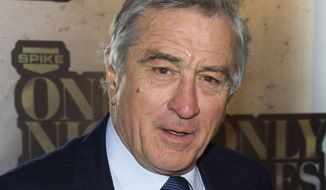 "In this May 6, 2014 file photo, Robert De Niro attends ""One Night Only: An All-Star Comedy Tribute,"" honoring Don Rickles, in New York.  Rickles is being feted by Spike TV with a 90-minute special, ""One Night Only: An All-Star Comedy Tribute."" The event, attended by De Niro, Martin Scorsese, Jerry Seinfeld, and others, taped earlier this month at Harlem's storied Apollo Theater, airs Wednesday, May 28, 2014, at 9 p.m. EDT, packed with love and a healthy dose of bile. (Photo by Charles Sykes/Invision/AP, File)"