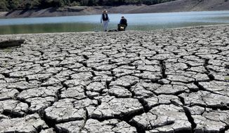 The Stevens Creek Reservoir is parched dry in March in Cupertino, Calif. Lack of seasonal rain meant water shortages for Californians this past winter. The worst water shortages are expected in Western states. Most are already dealing with one of the worst droughts on record, including not just California, but also Nevada, Texas and Oklahoma. (associated press)