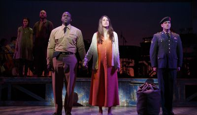 "This 2014 photo provided by Roundabout Theatre Company shows, front, from left, Joshua Henry, Sutton Foster, and Colin Donnell, rear, from left, Emerson Steele, and Alexander Gemignani, in a scene from the Tony Award-nominated musical ""Violet,"" at the American Airlines Theatre in New York. (AP Photo/Roundabout Theatre Company, Joan Marcus)"