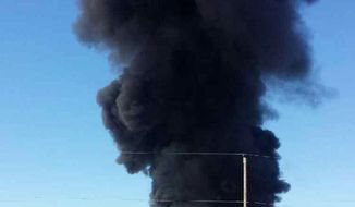 In this handout photo provided by Miguel Favela, smoke rises from a fire at a biofuel facility near Anthony, N.M. on Tuesday, May 27, 2014 prompting an evacuation of an area a half-mile around the plant, authorities said. Dona Ana County officials activated their emergency operations center and declared a hazardous materials emergency, said county spokesman Jess Williams. (AP Photo/Miguel Favela)