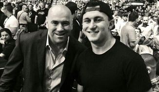 Johnny Manziel, right, with UFC president Dana White in a photo posted to Manziel's Twitter account.
