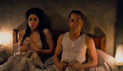 "This image released by Universal Pictures shows Sarah Silverman, left, and Giovanni Ribisi in a scene from ""A Million Ways to Die in the West."" (AP Photo/Universal Pictures)"