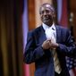 """Dr. Ben S. Carson, professor emeritus at Johns Hopkins School of Medicine, seen here at the Conservative Political Action Conference in March, told a gathering Wednesday at the National Press Club that when he retired, he expected to play golf and learn new languages, but """"God has different plans for me."""" (Associated Press)"""