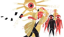Illustration on NSA spying,Big Brother and Edward Snowden by Linas Garsys/The Washington Times