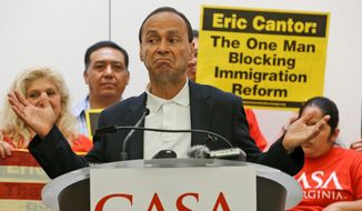 Rep. Luis Gutierrez, pro-amnesty Illinois Democrat, recently traveled to Richmond, where he rallied for House Majority Leader Eric Cantor, Virginia Republican, to break the immigration impasse in Congress. (associated press)