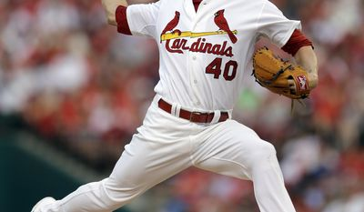 St. Louis Cardinals starting pitcher Shelby Miller throws during the first inning of a baseball game against the New York Yankees on Wednesday, May 28, 2014, in St. Louis. (AP Photo/Jeff Roberson)