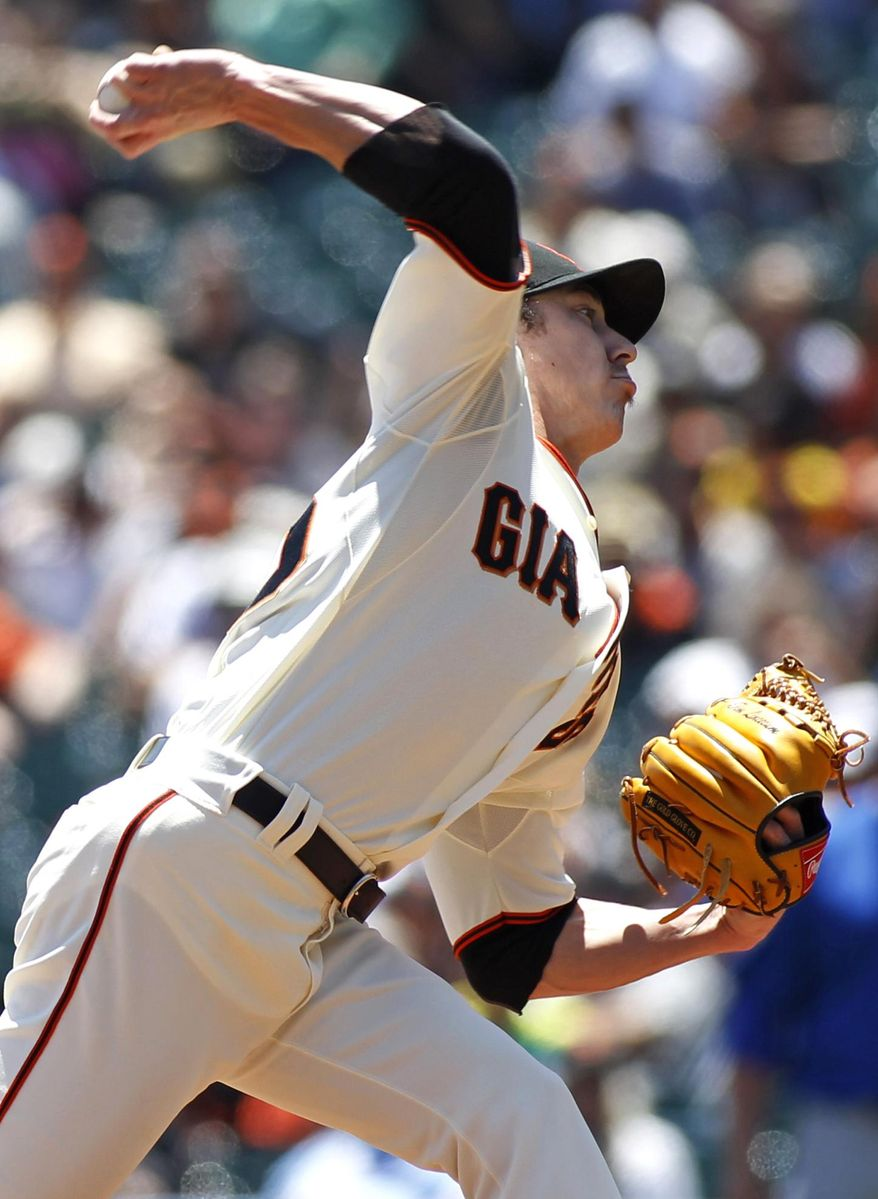 San Francisco pitcher Tim Lincecum throws to the Chicago Cubs during the first inning of a baseball game, Wednesday, May 28, 2014, in San Francisco. (AP Photo/George Nikitin)