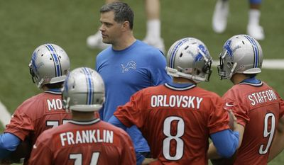 Detroit Lions offensive coordinator Joe Lombardi talks to the quarterbacks during an NFL football organized team activity in Allen Park, Mich., Wednesday, May 28, 2014. (AP Photo/Carlos Osorio)