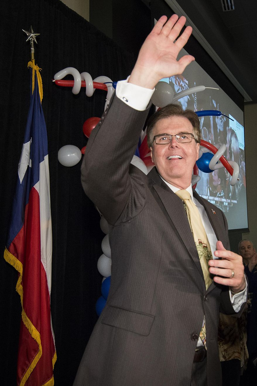 State Sen. Dan Patrick waves to supporters during a election-night watch party after the polls closed in the Republican primary runoff election on Tuesday, May 27, 2014, in Houston. Patrick defeated incumbent Lt. Gov. David Dewhurst in their runoff campaign to claim the Republican spot on the ballot for lieutenant governor in November against Democratic state Sen. Leticia Van de Putte. (AP Photo/Houston Chronicle,  Smiley N. Pool)