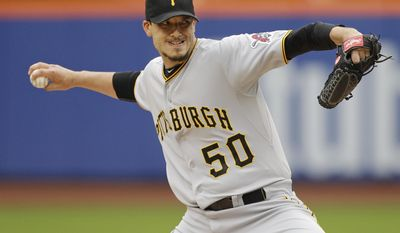 Pittsburgh Pirates' Charlie Morton delivers a pitch during the first inning of a baseball game against the New York Mets Wednesday, May 28, 2014, in New York. (AP Photo/Frank Franklin II)