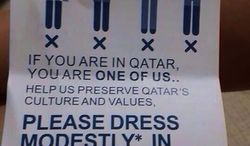 "The ""Reflect your Respect"" campaign, led by the Qatar Islamic Cultural Center, tells tourists that ""leggings are not pants"" and urges them to dress modestly out of respect for the country's strict Islamic culture. (@amadshk via Twitter)"