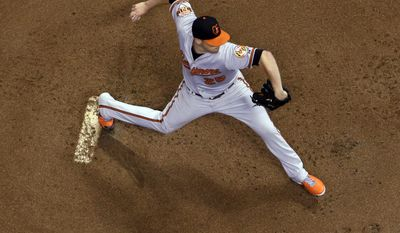 Baltimore Orioles' Bud Norris throws during the first inning of a baseball game against the Milwaukee Brewers on Wednesday, May 28, 2014, in Milwaukee. (AP Photo/Morry Gash)