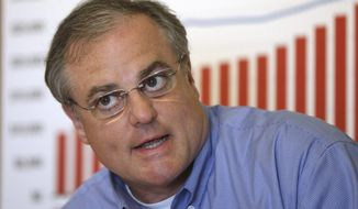 U.S. Mark Pryor participate in a discussion on raising college costs and student loans in Little Rock, Ark., Thursday, May 29, 2014. (AP Photo/Danny Johnston)