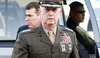 ASSOCIATED PRESS Marine Corps Gen. James N. Mattis arrives at Camp Pendleton Marine Corps Base in San Diego County, Calif. Defense Secretary Robert M. Gates says he wants Gen. Mattis to take over U.S. Central Command, replacing Gen. David H. Petraeus.