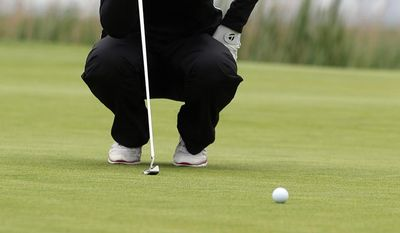 Jessica Korda lines up a putt on the second hole during a pro-am for the Shoprite Classic golf tournament in Galloway, N.J., , Thursday, May 29, 2013. (AP Photo/The Press of Atlantic City, Michael Ein) MANDATORY CREDIT